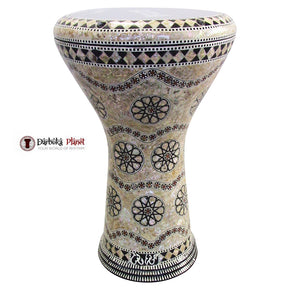 "The White Lotus  Gawharet El Fan 17"" Mother of Pearl Darbuka"
