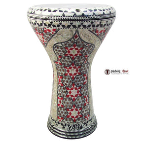 The 17'' Red Palace Mother of pearl Gawharet El Fan Darbuka Doumbek