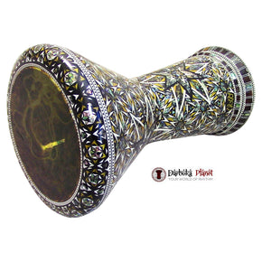 "The Asteroid  NG 2.0 Sombaty Gawharet El Fan & ZAZA Percussion Joint Venture 18.5"" Darbuka With Real Green Mother of Pearl + Remo Yellow Mist Drum Head"