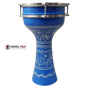 The ZAZA Percussion The 16'' Blue Lotus Aluminum Darbuka Doumbek.