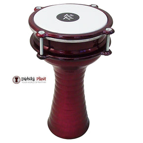 Zaza Percussion 10'' (length) Turkish Aluminum (Red) Darbuka Doumbek, Synthetic Head