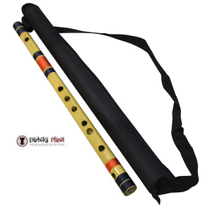 Zaza Percussion- Professional  Scale C Bass 19'' Inches Polished Bamboo Bansuri Flute (Indian Flute)  With Carry Bag