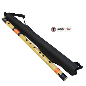 Zaza Percussion- Professional  Scale E Middle Flute 15'' Inches Polished Bamboo Bansuri Flute (Indian Flute)  With Carry Bag