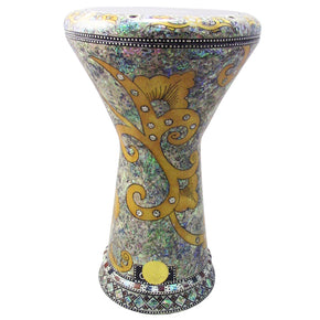 "The Yellow Orchid NG 2.0 Sombaty Gawharet El Fan 18.5"" Darbuka With Real Green Mother of Pearl"