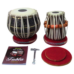 Zaza Percussion - Indian Tabla Drum Set - Black Brass Bayan Tabla Drum Set, Finest 5.5 Wood Dayan with Book, Hammer, Tabla Cushions and Cover - Indian Musical Instrument