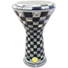 The 17.5'' NG2.0 Black Chess Darbuka Doumbek With Green Mother of Pearl Gawharet El Fan