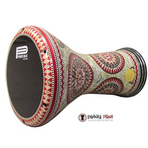 The 17'' Egyptian Red Star with Black Power Beat Drum Head Mother of pearl Gawharet El Fan Darbuka