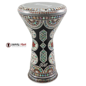 The New Generation 2.0 Black King  Darbuka Doumbek  With Green Mother of Pearl Gawharet El Fan
