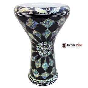 The 17'' Egyptian Black Widow With Blue Mother of Pearl Gawharet El Fan Darbuka Doumbek