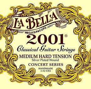 La Bella 2001 MED-HARD Classical Guitar Strings, Silver Plated