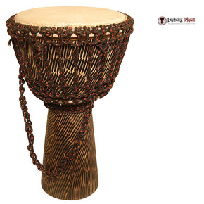 "10"" X 20"" Sheesham Goatskin Head Djembe - Chiseled Finish"