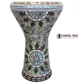 The 17'' Indian Sun With Real Blue Mother of Pearl Gawharet El Fan Darbuka Doumbek