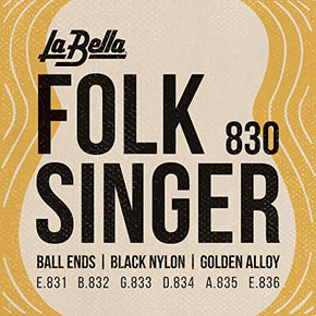 La Bella (830) String Type Folksinger Set, Black Nylon Guitar Strings