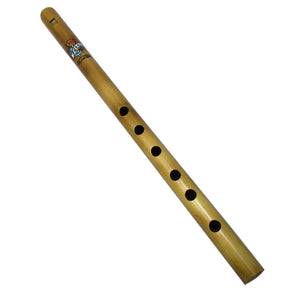 Zaza Percussion- 6 Finger holes - Professional Polished Bamboo Flute state D - 14'' (Indian Flute)