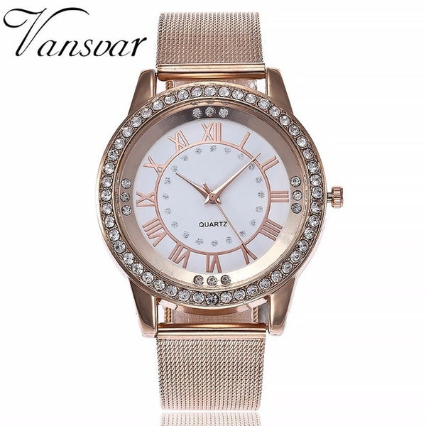 Rhinestone Women Watch Mesh Wristwatch