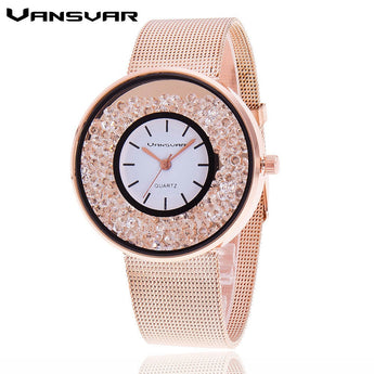 Stainless Steel Women Rhinestone Watch