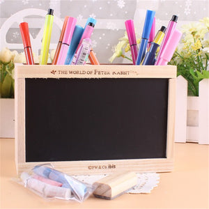 Double Lattice Wooden Pen Holder with Blackboard - 247onlineSale.com