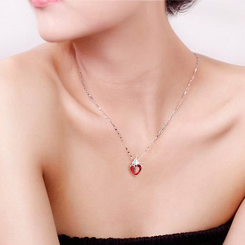 Sincere Heart Necklace Earrings Set - 247onlineSale.com