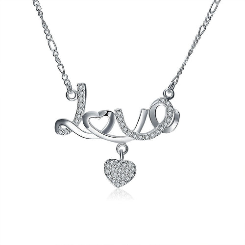 Crystal Diamond Love Heart Pendant Necklace - 247onlineSale.com