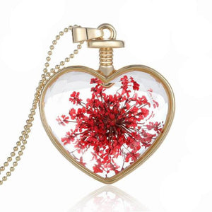 Women Dry Flower Heart Glass Pendant Necklace - 247onlineSale.com