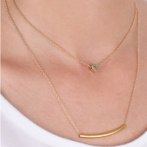 Vintage Gold Multi-layer Heart Pendant Chain Necklace - 247onlineSale.com