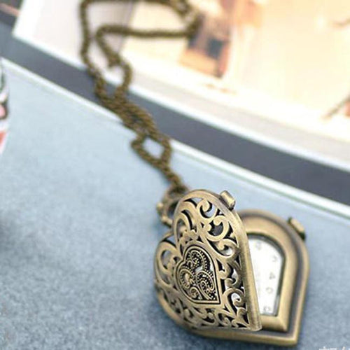 Heart-Shaped Pocket Watch Necklace - 247onlineSale.com
