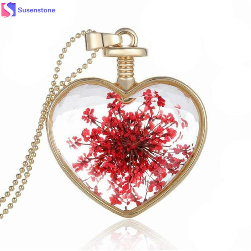 Dry Flower Heart Glass Wishing Bottle Necklace - 247onlineSale.com