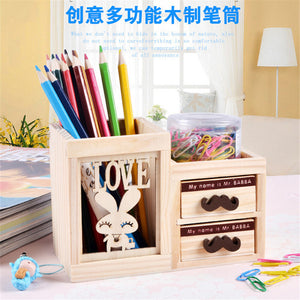 Wooden Pen Holder with Two Drawer Office Accessories - 247onlineSale.com