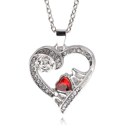 Crystal Rose Heart Pendant Necklace - 247onlineSale.com