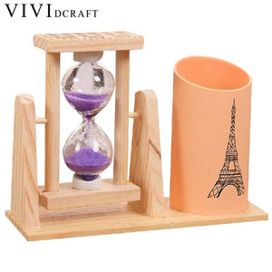 Vividcraft Creative Wood Pen Holder With Hourglass - 247onlineSale.com