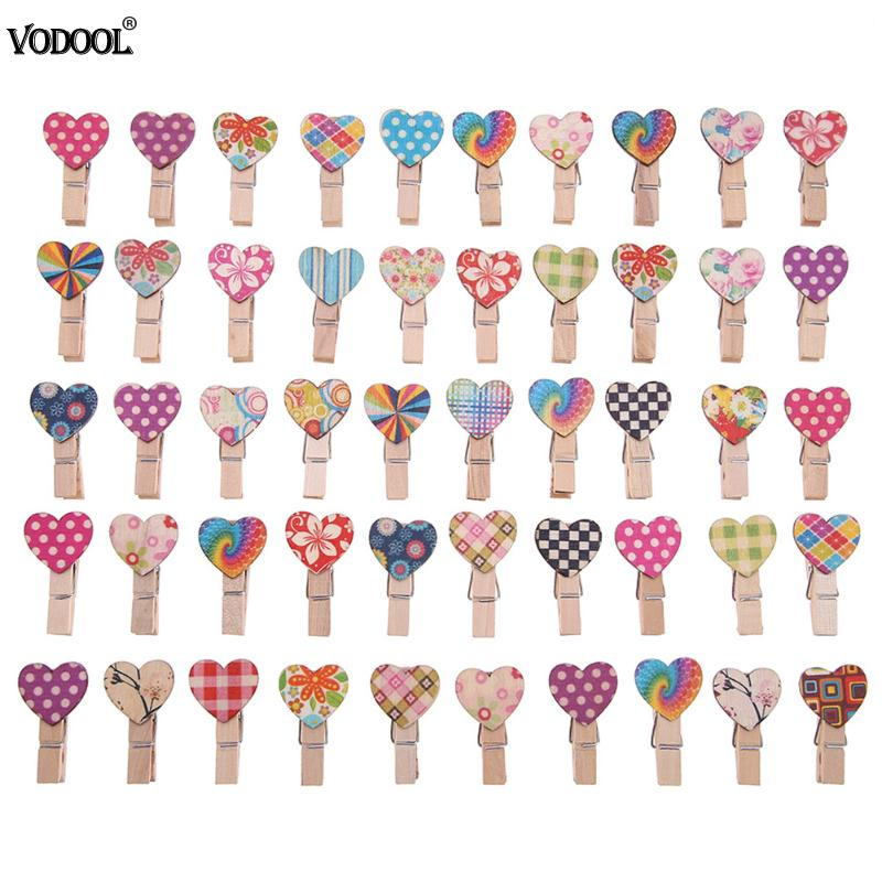 50pcs Love Heart Wooden Clip Photo Clips - 247onlineSale.com