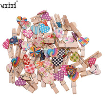 VODOOL 50pcs Love Heart Wooden Clip Accessories - 247onlineSale.com