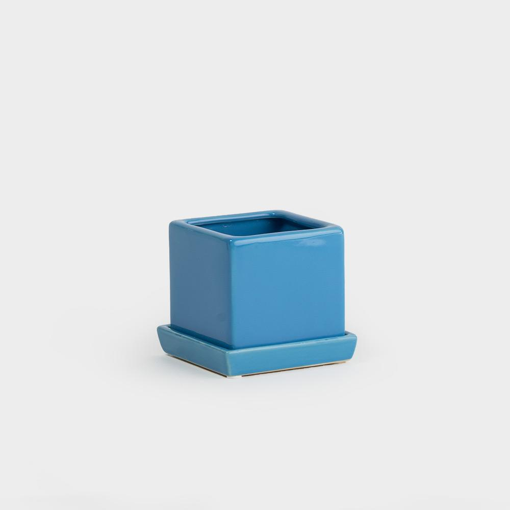 Chive Cube & Saucer Planter - Azure | Pots For Indoor Plants