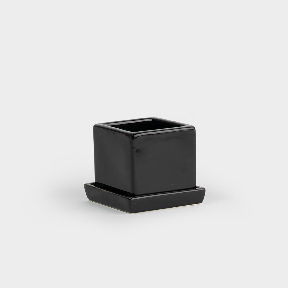 Chive Cube & Saucer Planter - Black | Pots For Indoor Plants
