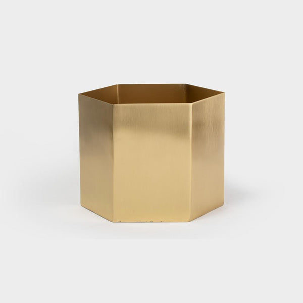 Ferm Hexagon Pot XL - Brass | Pots For Indoor Plants