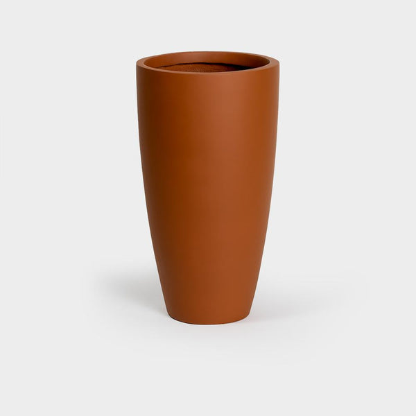 Terracotta brown tall tapered large planter