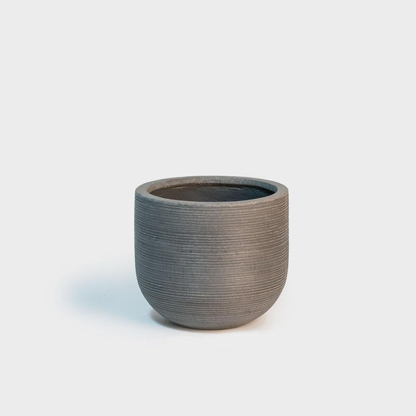 .Pottery Pots. Dice S Horizontal Ridged Grey