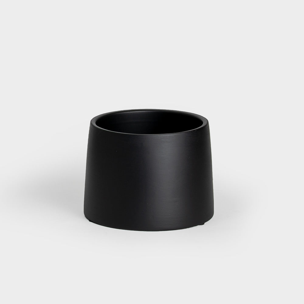 .Matte Black Ceramic Reverse Taper Planter.