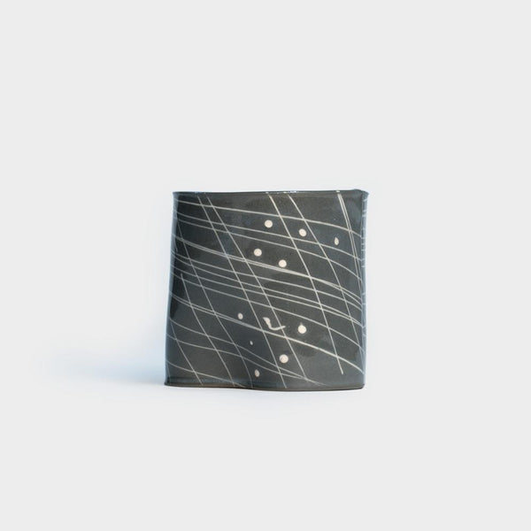 .Wilcoxson Ceramics. Pinched Planter - Dark Grid