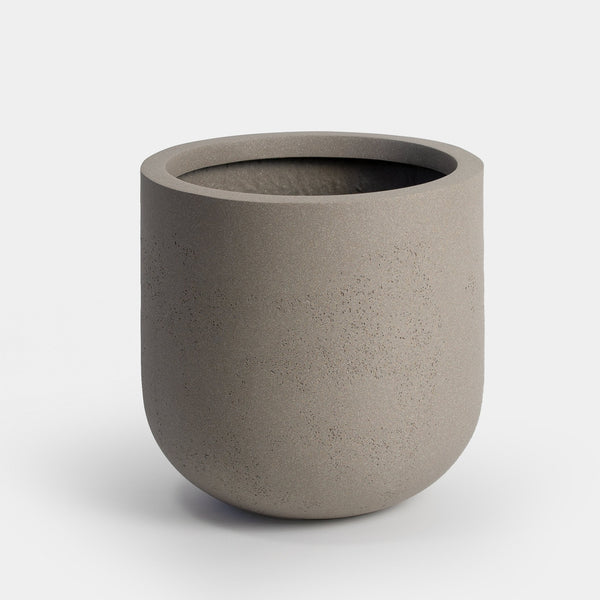 Stone grey large planter with curved bottom | Wythe 40
