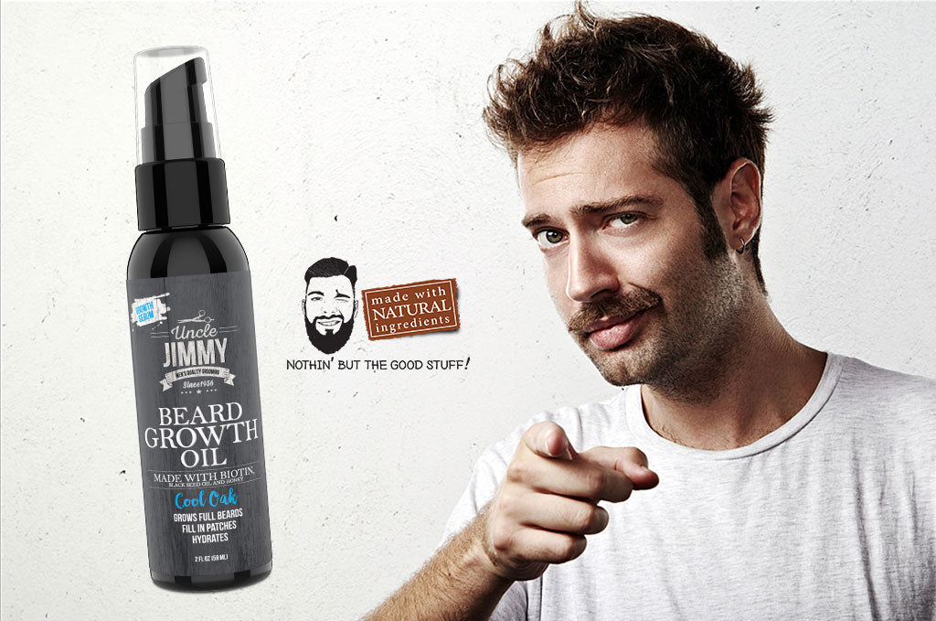 Apply Uncle Jimmy Products Beard Oil to your Mustache