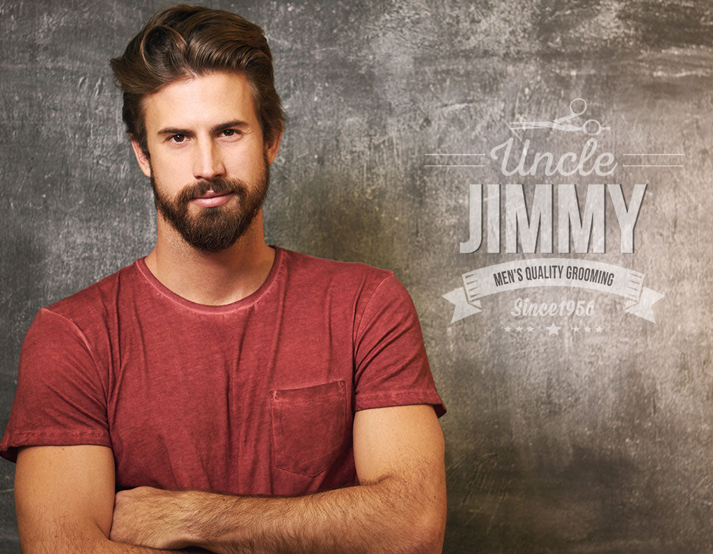 Man with Full Beard Using Uncle Jimmy Products