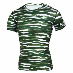 Camouflage Short Sleeves Compression Crossfit Workout Top