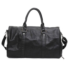 Black and Coffee Leather Gym Bag with Shoulder Straps