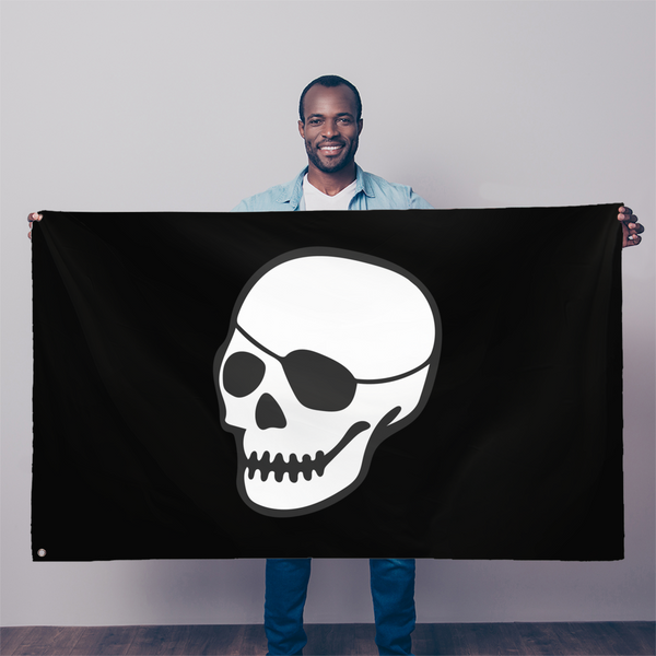 patched-skull flag patched-skull 5'x3' black flag