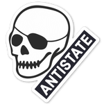 antistate patched-skull decal 3""
