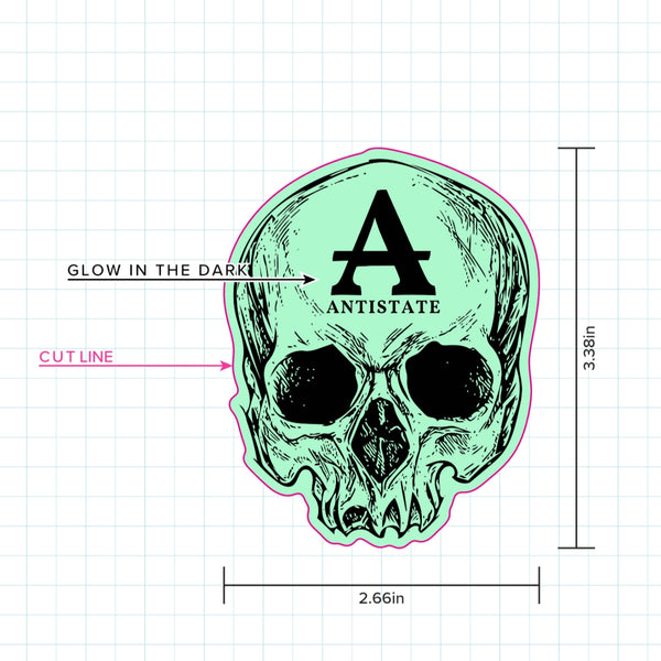 ANTISTATE glow skull decal 3""