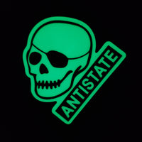antistate glow patched-skull decal 3""