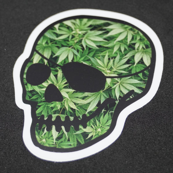 patched-skull leaves decal 4""