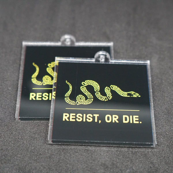 "resist, or die. 2"" keychain"